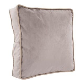 Kenneth Ludwig Chicago Square Gusseted Velvet Pillow With Contrast Welt For Sale
