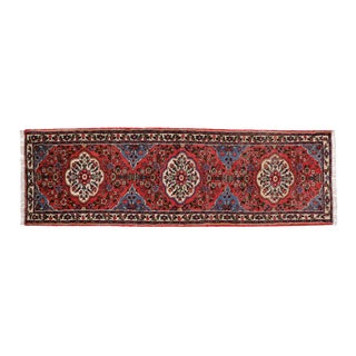 Vintage Persian Roudbar Runner With Jacobean Style, Persian Hallway Runner, 3' X 9'5 For Sale