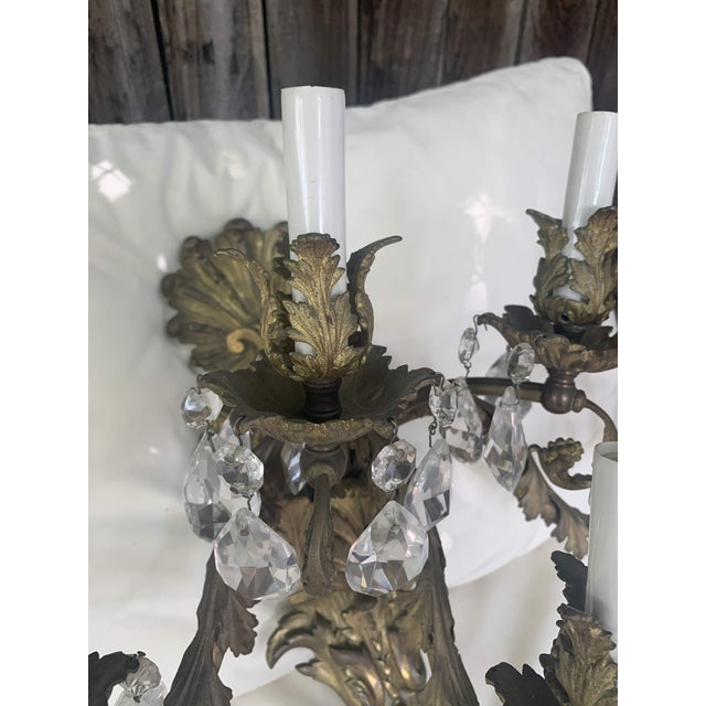 French Rococo Gilt Bronze and Crystal Sconces With Five Arms, Circa 1820 - a Pair For Sale - Image 4 of 13
