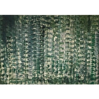Jean Montanti Contemporary Dark Green and Gray Acrylic Abstract Painting For Sale