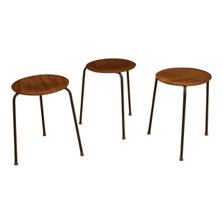 Set of 3 Danish Arne Jacobsen Teak Dot Stools for Fritz Hansen For Sale