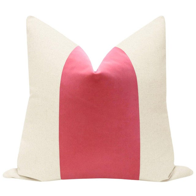"Pair of 22"" natural linen pillows with center velvet panel in Rosé pink. Solid natural linen reverse, knife edge finish,..."