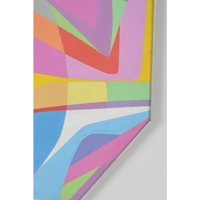 1970s Octagonal Abstract Oil on Canvas - Image 3 of 7