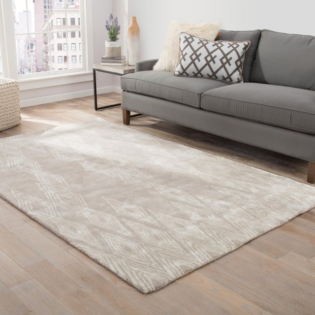 2010s Nikki Chu by Jaipur Living Mulberry Handmade Geometric Gray/ Cream Area Rug - 2′ × 3′ For Sale - Image 5 of 6