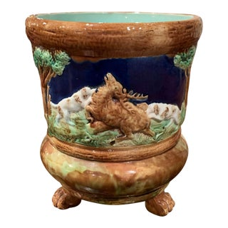 19th Century French Barbotine Ceramic Deer and Dog Cache Pot From Sarreguemines For Sale