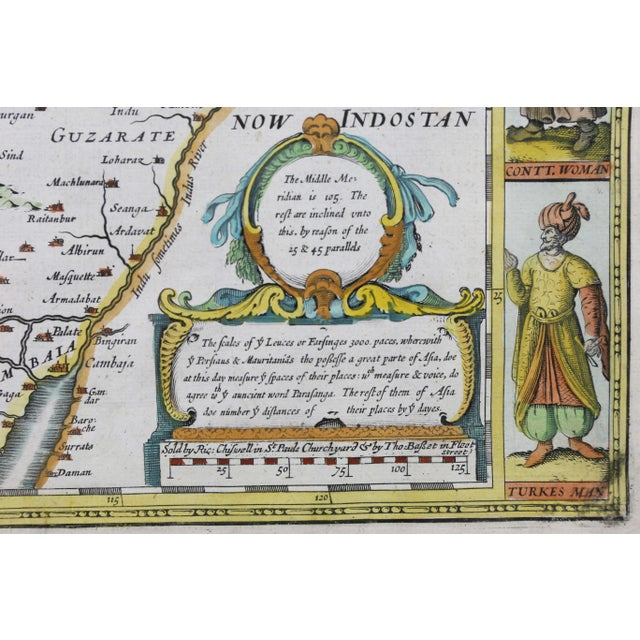 White Framed Hand Colored Map of Persia by John Speed For Sale - Image 8 of 10