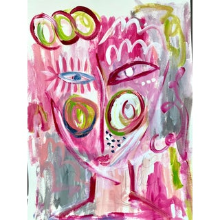 """""""Pink Face"""" Contemporary Abstract Acrylic Painting by Ebony Boyd"""