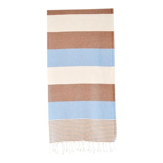 Contemporary Cotton Blue & Tan Turkish Hammam Bath Towel For Sale