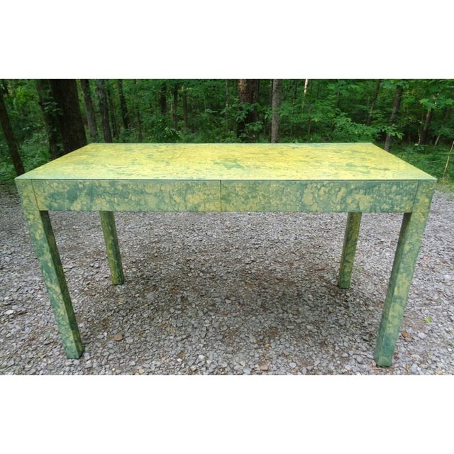 Mid-Century Modern C.1967 Designer Raindrop Finish Vanity Desk Console Table For Sale - Image 3 of 13