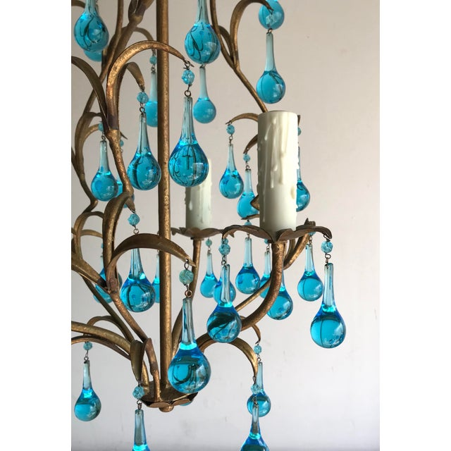 1950s Italian Vintage Gilt Iron Chandelier With Aqua Drops For Sale - Image 5 of 6