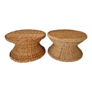 Vintage Round Wicker Side Tables With Braided Trim - a Pair For Sale