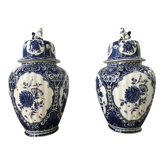 Mid-20th Century Delft Style Blue and White Ginger Jars - a Pair