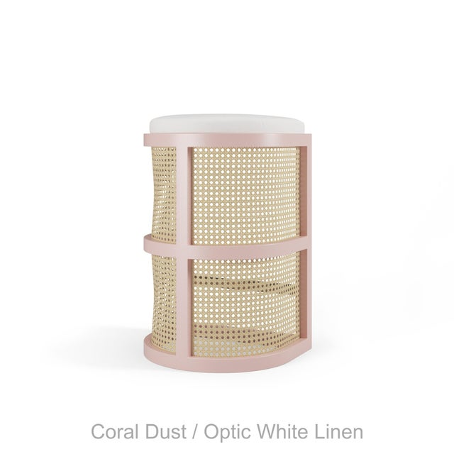 Not Yet Made - Made To Order Isabella Bar Stool - Coral Dust, Optic White Linen For Sale - Image 5 of 5