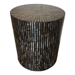 Mother of Pearl Inlay Round Side Table For Sale