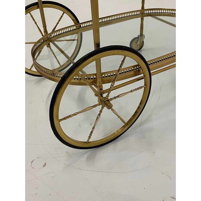 Mid-Century Modern Oval Brass & Glass Bar Cart For Sale In Philadelphia - Image 6 of 12