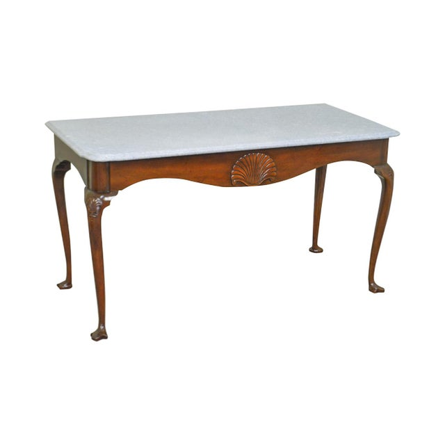 Kittinger Colonial Williamsburg Cwiss Mahogany Marble Top Mixing Table Console For Sale - Image 13 of 13
