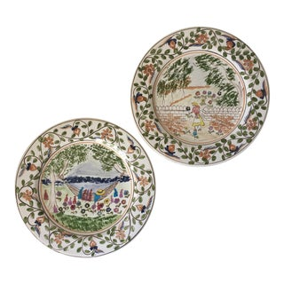 2 Hand-Painted Faience Plates-Portugal For Sale
