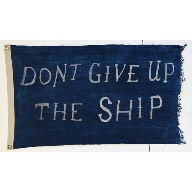 """Metal Boho Chic Nautical Themed Indigo Blue/White African Textile Flag 35"""" X 21"""" For Sale - Image 7 of 9"""