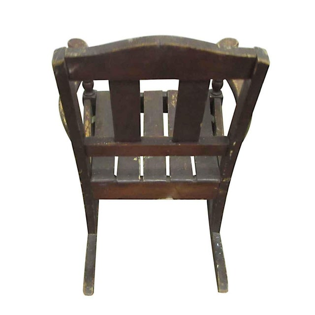 Brown Miniature Wooden Rocking Chair For Sale - Image 8 of 8