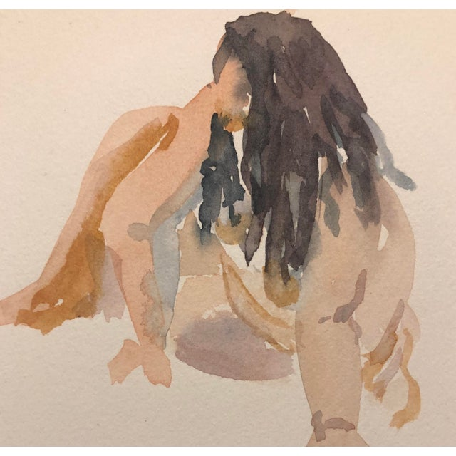 Contemporary Watercolor Painting of a Seated Portly Lady by Myra Kyle, 1980s For Sale - Image 3 of 4