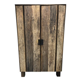 Reclaimed Wood Two Door Armoire For Sale