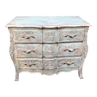 Blue Louis XV Style French Provincial Chest of Drawers Commode For Sale