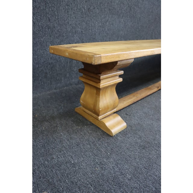 Wood Rustic Country French Style Oak & Pine Bench For Sale - Image 7 of 8