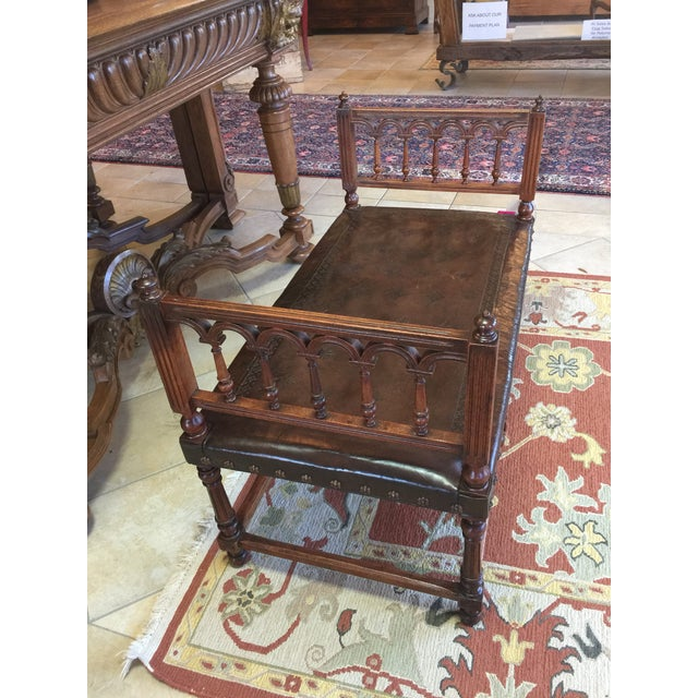 Antique Henry II Walnut & Tooled Leather Bench - Image 5 of 6