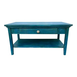 2000s Nautical Beachy Blue Wooden Coffee Table