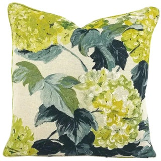 Designers Guild Cassandra Self-Welt Green Hydrangea Pillow Cover For Sale