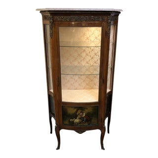 Marble Top Vintage Style Curio Cabinet For Sale