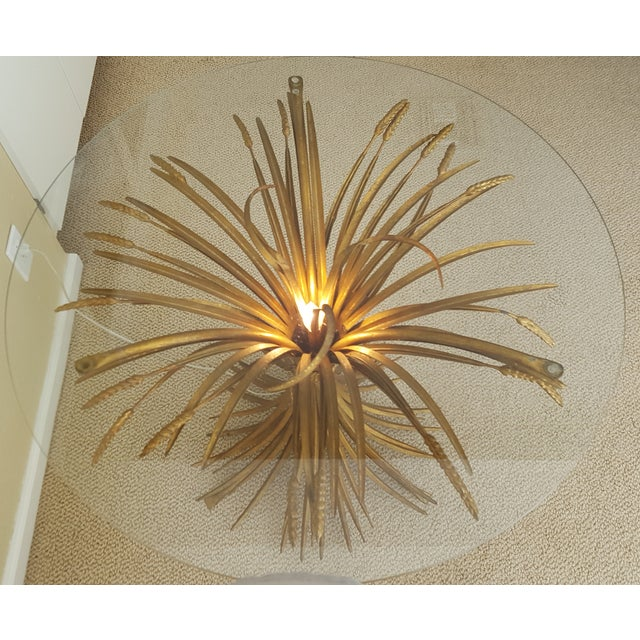 Gilt Wheat Sheath Lamp Table With Center Light For Sale In Phoenix - Image 6 of 6