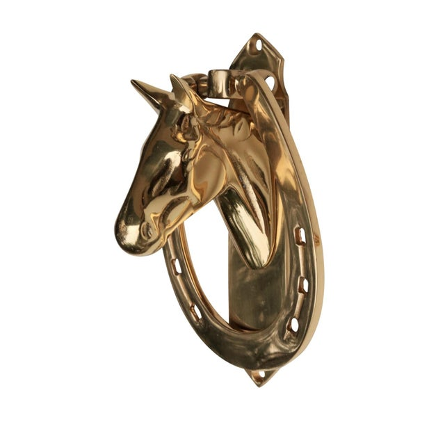Horse Head & Horseshoe Solid Brass Door Knocker For Sale - Image 4 of 6