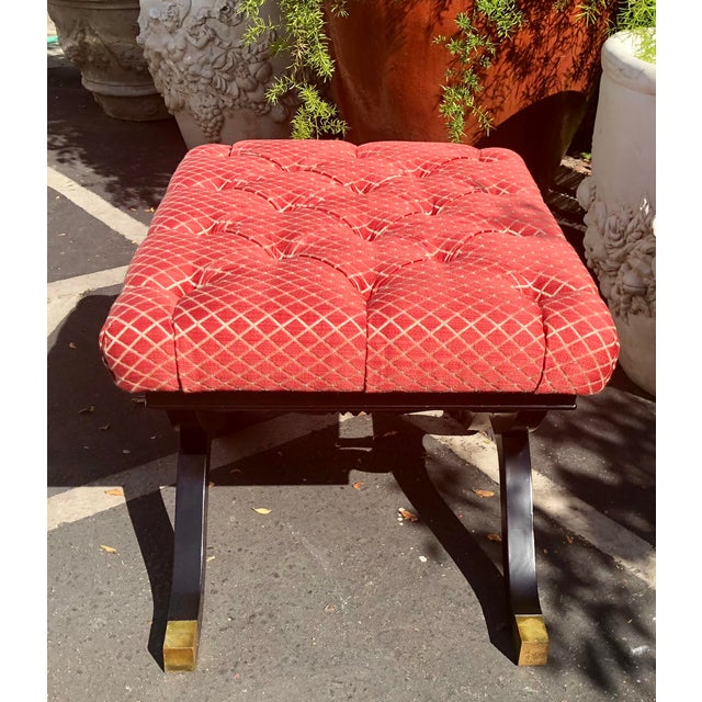 Hollywood Regency Style X Frame Ottoman Footstool Bench For Sale - Image 4 of 6