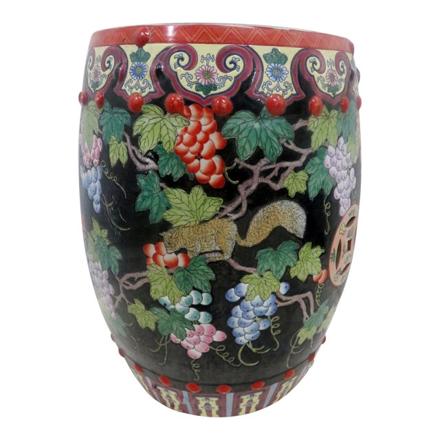 Chinese Porcelain Squirrel Grape Garden Stool For Sale