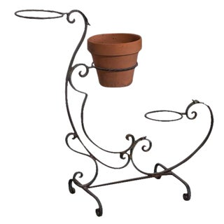 French Vintage Iron Garden Plant Stand Circa 1940 For Sale
