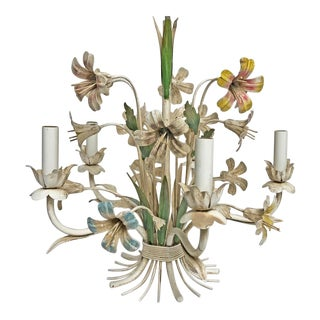 1950s Vintage Tole Floral Chandelier For Sale