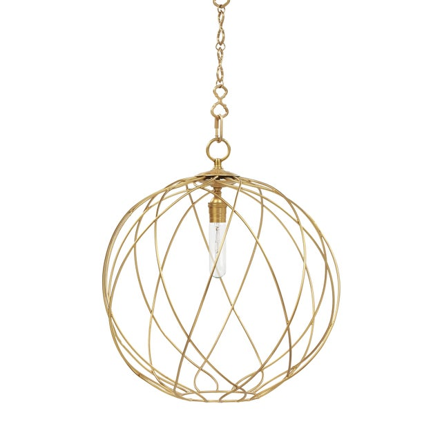 """Mid-Century Modern Gail 20"""" Hanging Pendant Light - Brass For Sale - Image 3 of 3"""