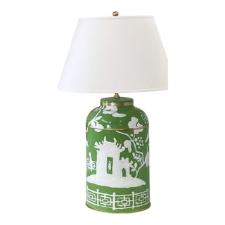 Dana Gibson Xanadu Tea Caddy Lamp in Green For Sale