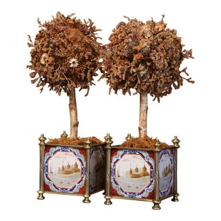 Pair of 19th Century English Brass Jardinières With Hand Painted Porcelain Tiles For Sale