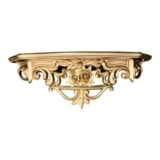 1960s Hollywood Regency Gold Syroco Hanging Wall Shelf For Sale