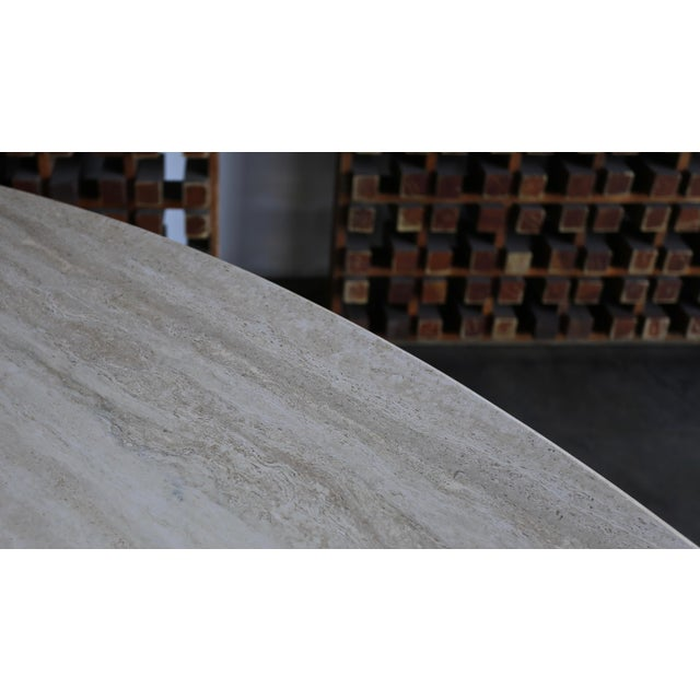Cream Travertine Oval Dining Table Circa 1980 For Sale - Image 8 of 11