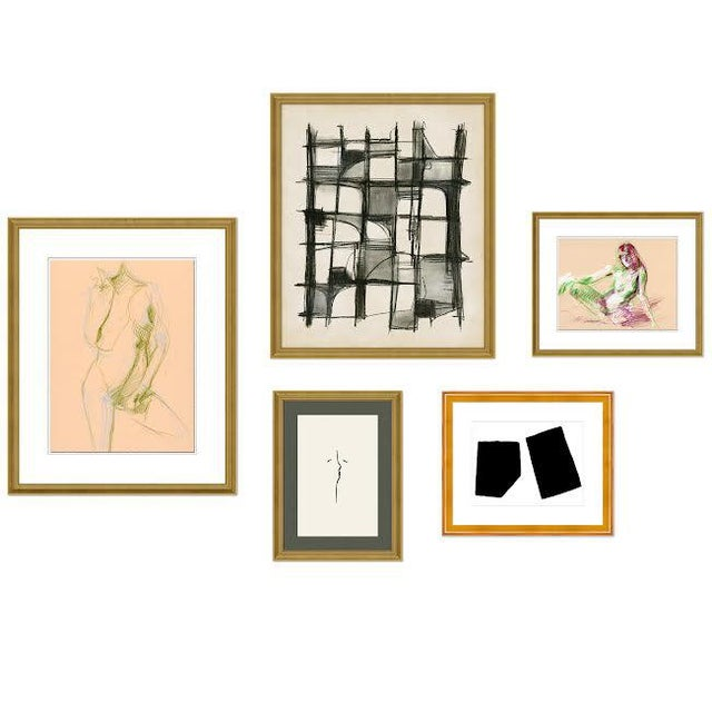 Pink Montmartre Gallery Wall, Set of 5 For Sale - Image 8 of 8