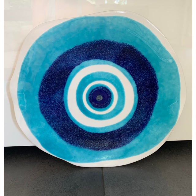 2010s Modern Mediterranean Handmade Glazed Pottery Platter, Evil Eye 1 For Sale - Image 5 of 8