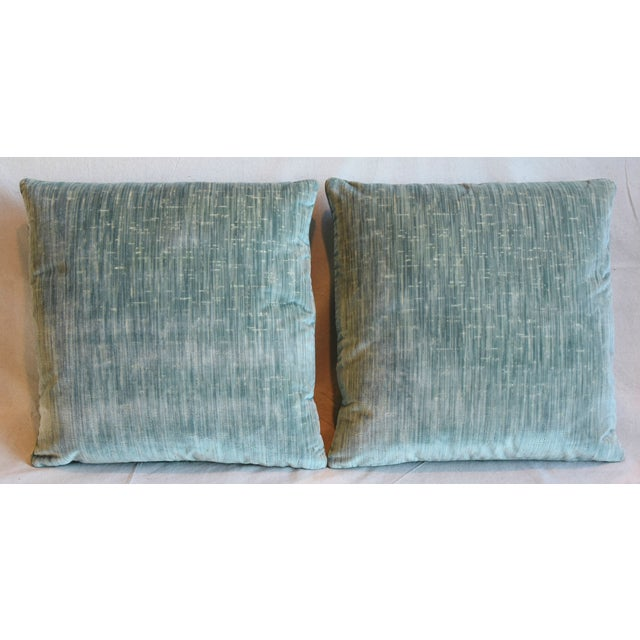 """Pair of custom-tailored pillows in Clarence House textured velvet fabric called """"Castellamonte."""" New green-teal colored..."""