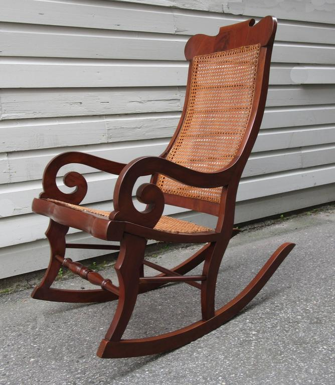 19th Century St. Croix Regency Mahogany And Cane Rocking Chair   Image 5 Of  7