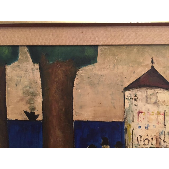Mid-Century Modern Original Mid-Century Modern Signed Oil Painting on Canvas For Sale - Image 3 of 12
