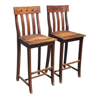 Vintage Spanish Style Solid Wood Bar Stools W Decorative Nails Clavos - a Pair For Sale
