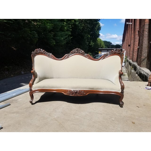 Mid 19th Century Antique John Henry Belter Velvet Green Loveseat For Sale - Image 11 of 11
