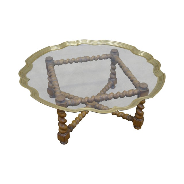 Quality Brass & Glass Tray Top Coffee Table - Image 1 of 9